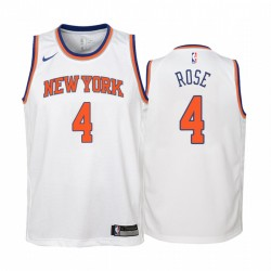 New York Knicks Derrick Rose 2020-21 Association Edition WEIß Jugend Trikot & 4