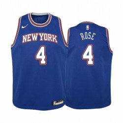 New York Knicks Derrick Rose 2020-21 Statement Edition Blue Jugend Trikot & 4