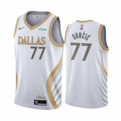Luka Doncic Dallas Mavericks Weiß City Edition Gold Silver Logo 2020-21 Trikot