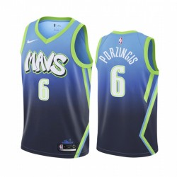 Kristaps Porzingis Dallas Mavericks City Edition Blue Trikot
