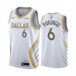Kristaps Porzingis Dallas Mavericks Weiß City Edition Gold Silver Logo 2020-21 Trikot