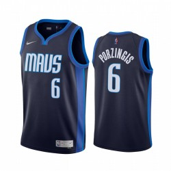 2020-21 Dallas Mavericks Kristaps Porzingis verdiente Edition Navy & 6 Trikot