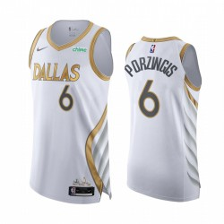 Kristaps Porzingis Dallas Mavericks Weiß Authentic City Edition 2020-21 Trikot