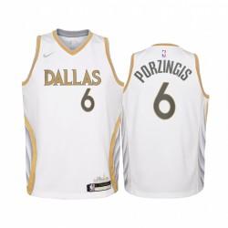 Dallas Mavericks Kristaps Porzingis 2020-21 Stadtausgabe Weiß Jugend Trikot - Swingman