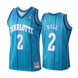 Lamelo Ball & 2 Charlotte Hornets Hardwood Classics Trikot Teal