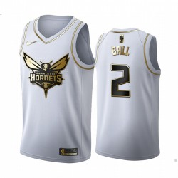 Lamelo Ball Charlotte Hornets 2020-21 Weiß Golden Edition Trikot 2020 NBA Draft