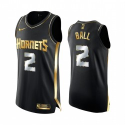 Lamelo Ball Charlotte Hornets 2020-21 Schwarz Golden Edition Trikot Limited Authentic