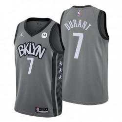 Brooklyn Nets Anweisung Ausgabe Trikot Kevin Durant 7 grau 2020-21