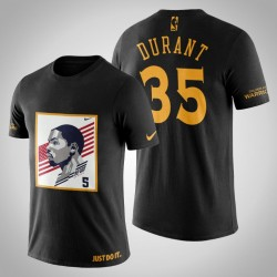 Golden State Warriors Kevin Durant # 35 Black Legend USA-Flaggen-T-Shirt