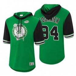 Boston Celtics Evan Fournier & 94 Mitchell & Ness Hardwood Classics Summer Beater Mesh Green Hoodie-SHORT SHLEVE