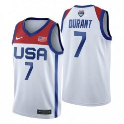 USA-Team 2021 Tokyo Olympiade Basketball & 7 Kevin Durant Weiß Trikot