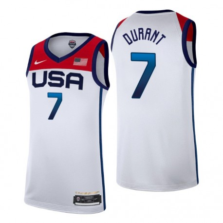 USA Team 2021 Tokyo Olympiade Basketball & 7 Kevin Durant Weiß Spieler Trikot