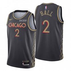 Chicago Bulls Swingman Lonzo Ball Nr. 2 Stadt Edition Schwarz Trikot