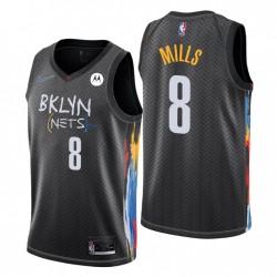 Brooklyn Nets Swingman Patty Mills Nr. 8 Stadt Edition Schwarz Trikot