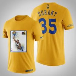 Golden State Warriors Kevin Durant # 35 Yellow Legend 2017 Das Finale T-Shirt