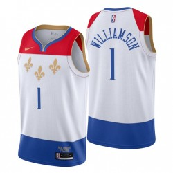 2020-21 New Orleans Pelicans Swingman Trikot Zion Williamson No. 1 City Edition Weiß