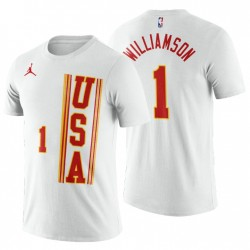 USA Team Zion Williamson Nr. 1 Weiß 2021 Aufstieg Stern-T-Shirt