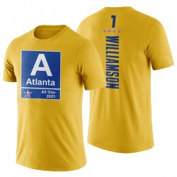2021 Atlanta NBA All-Star Pelicans & 1 Zion Williamson Gelb T-Shirt