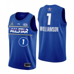 New Orleans Pelikane Nr. 1 Zion Williamson 2021 NBA All-Star Blue Trikot