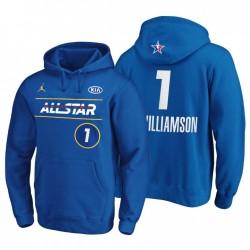 2021 Atlanta NBA All-Star Zion Williamson No. 1 Pullover Blue Hoodie