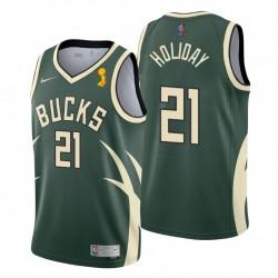 Milwaukee Bucks & 21 Jrue Holiday 2021 Finals Champs verdiente grüne Trikot