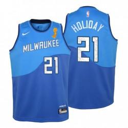 Jugend Milwaukee Bucks 2021 NBA Finals Champions & 21 Jrue Holiday Blue City Trikot