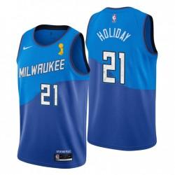 Milwaukee Bucks & 21 Jrue Holiday 2021 Finals Champs City Blue Trikot
