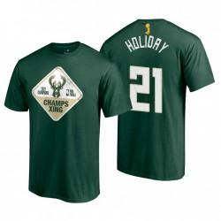 Fanatics Branded Milwaukee Bucks 2021 Finals Champs Jrue Holiday & 21 Hometown Hunter Green T-Shirt