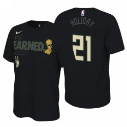 Milwaukee Bucks 2021 Finale Champs Jrue Holiday & 21 Feiern Parade Schwarz T-Shirt