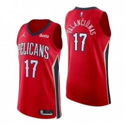 New Orleans Pelicans & 17 Jonas Valanciunas Authentische Aussage Rot Trikot