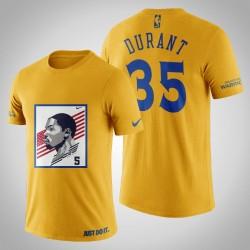 Golden State Warriors Kevin Durant # 35 Yellow Legend USA-Flaggen-T-Shirt