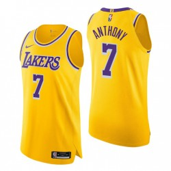 Los Angeles Lakers & 7 Carmelo Anthony Authentic Icon Edition Gold Trikot