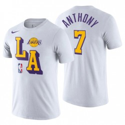 Los Angeles Lakers & 7 Carmelo Anthony Courtside Block Weiß T-Shirt