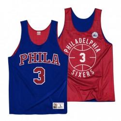 Philadelphia 76ers Allen Iverson & 3 Mitchell & Ness Throwback Reversible Training Royal Rot Trikot