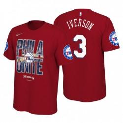 Philadelphia 76ers Herren & 3 Rot 2019 NBA Playoffs Allen Iverson T-Shirt