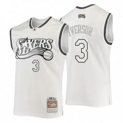 Philadelphia 76ers Allen Iverson & 3 Mitchell & Ness Weiß Hardwood Classics Swingman Trikot