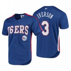 Männer Philadelphia 76er & 3 Allen Iverson Royal PlayMaker Baseball Trikot T-Shirt