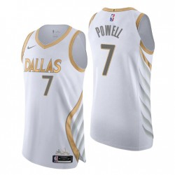 2020-21 Dallas Mavericks Trikot No.7 Dwight Powell City Edition Weiß
