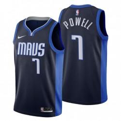 2020-21 Dallas Mavericks No.7 Dwight Powell Verdiente Ausgabe Trikot Navy