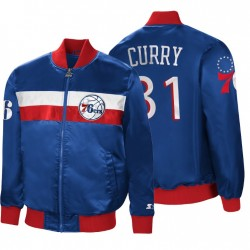 2020-21 Philadelphia 76er Nr. 31 Seth Curry Full-Zip Die Botschafter Royal Jacket