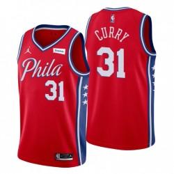 Philadelphia 76er & 31 Seth Curry Swingman Rot Trikot Erklärung Ausgabe 2021