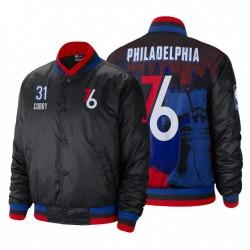 2020-21 Philadelphia 76er No.31 Seth Curry Jacket City Edition Full-Snap Courtside Schwarz