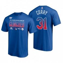 Philadelphia 76er & 31 Seth Curry 2021 Division Champions Locker Room Royal T-Shirt