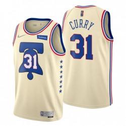 Philadelphia 76ers verdient Edition Creme-Nr. 31 Seth Curry Trikot Swingman