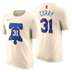2020-21 76er erzielte EDITION & 31 Seth Curry Cream T-Shirt