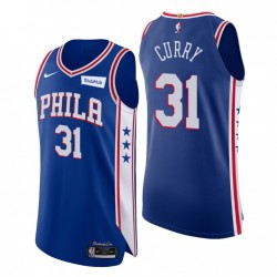 2020-21 Philadelphia 76er icon Edition Authentic Trikot & 31 Seth Curry Blue