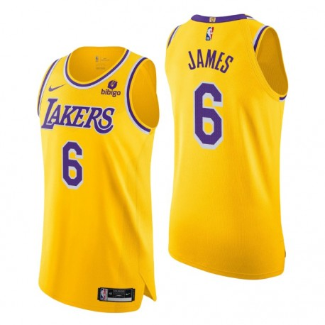 Los Angeles Lakers ^ 6 LeBron James Gold Authentic Icon Edition 2021-22 Trikot