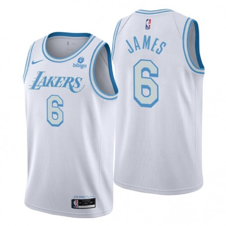 2021-22 Los Angeles Lakers ^ 6 Lebron James Weiß Swingman City Edition Trikot