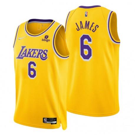 2021-22 Los Angeles Lakers Lebron James ^ 6 75th Jubiläum Diamant Gold Swingman Trikot-Symbol