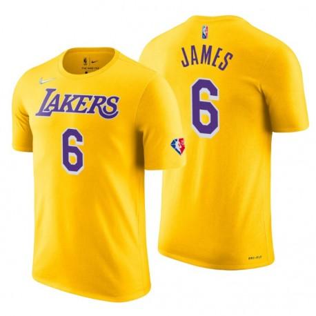 Los Angeles Lakers Lebron James ^ 6 75th Jubiläum Diamant Gold T-Shirt
